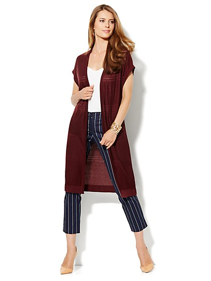 Open-Stitch Duster Cardigan - New York & Company