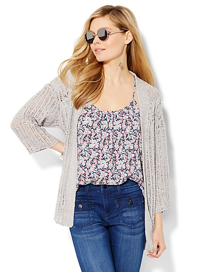 Open-Stitch Flyaway Cardigan  - New York & Company