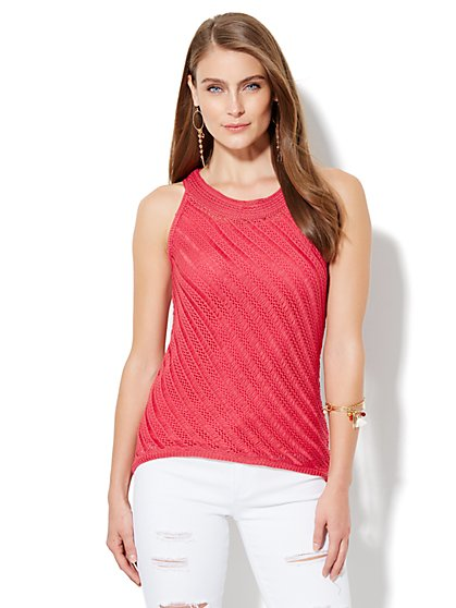 Open-Stitch Hi-Lo Knit Tank Top  - New York & Company