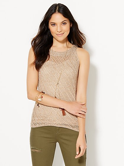 Open-Stitch Hi-Lo Marled Knit Tank Top  - New York & Company