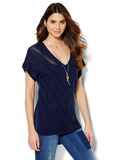 Open-Stitch Hi-Lo Top - New York & Company