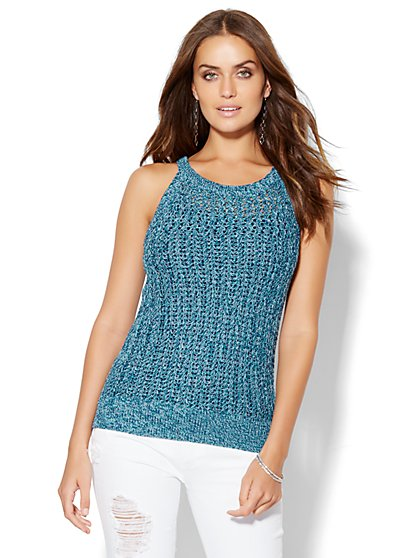 Open-Stitch Knit Halter Top  - New York & Company