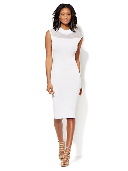 Open-Stitch Midi Sweater Dress - Petite  - New York & Company