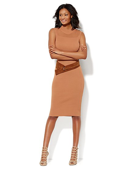 Open-Stitch Midi Sweater Dress - New York & Company