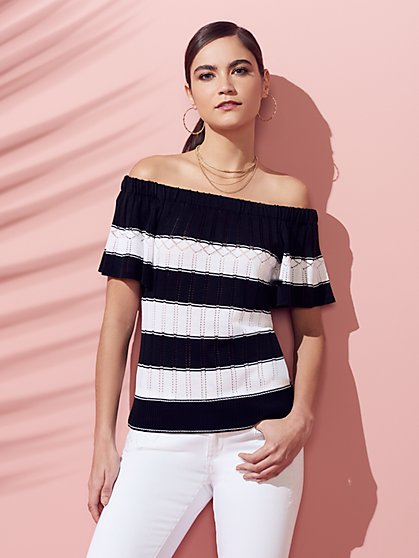 Open-Stitch Off-The-Shoulder Sweater - New York & Company
