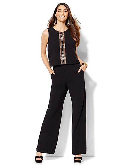 Open-Stitch Panel Jumpsuit - Black  - New York & Company