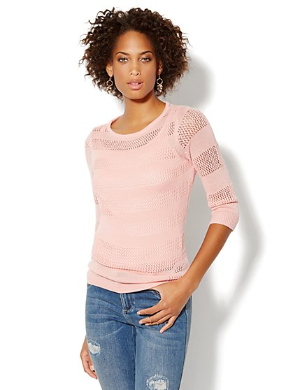Open-Stitch Pullover Sweater