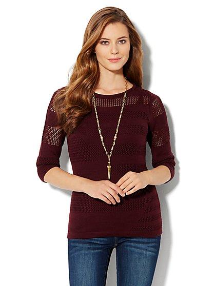 Open-Stitch Pullover Sweater - New York & Company