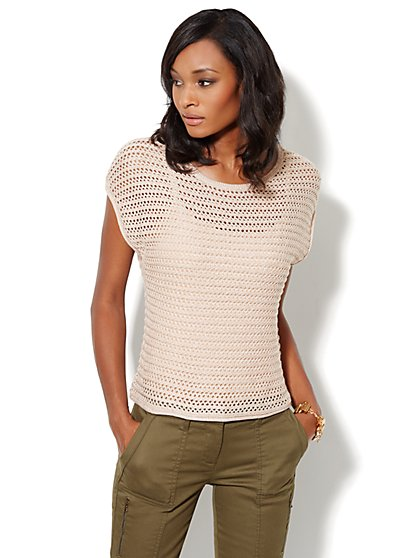 Open-Stitch Scoopneck Sweater