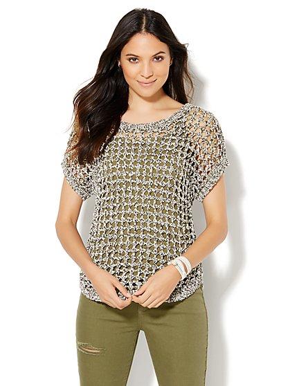 Open-Stitch Short-Sleeve Sweater  - New York & Company