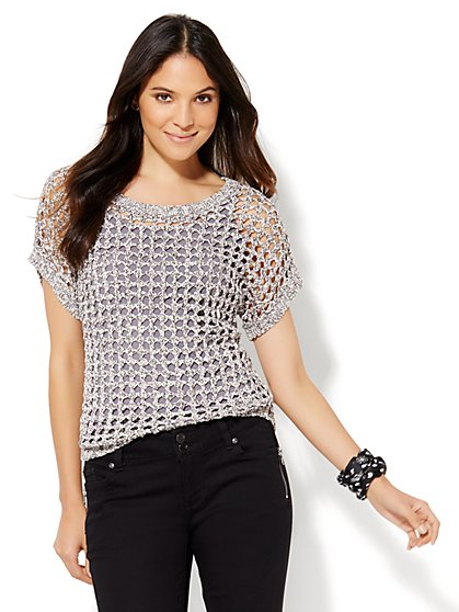 Open-Stitch Short-Sleeve Sweater  - New York & Company