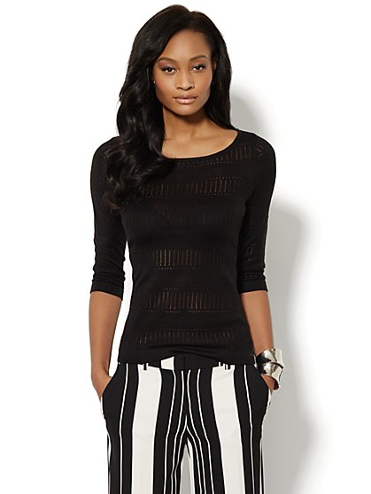 Open-Stitch Striped Sweater