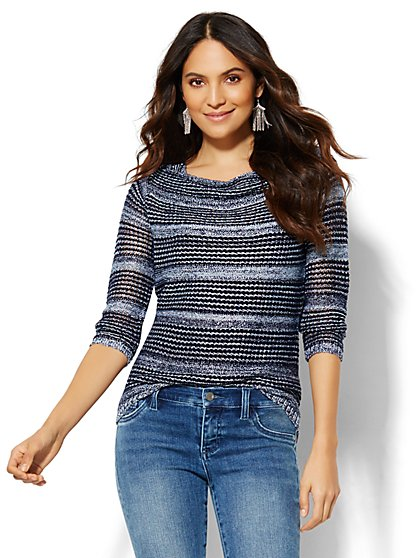 Open-Stitch Sweater - Stripe  - New York & Company
