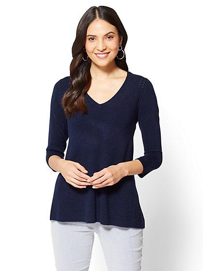 Open-Stitch V-Neck Sweater - New York & Company