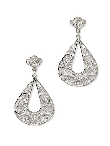 Open Teardrop Filigree Earring  - New York & Company