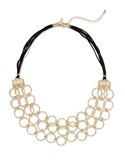 Openwork Circle Cord Necklace  - New York & Company