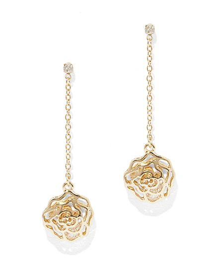 Openwork Floral Drop Earring  - New York & Company
