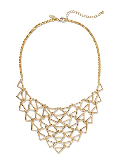 Openwork Triangular Bib Necklace  - New York & Company