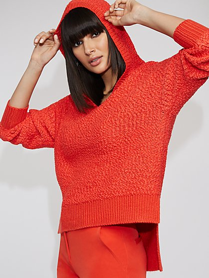 Orange Hooded High-Low Sweater - Gabrielle Union Collection - New York & Company