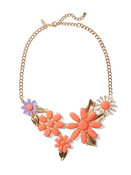 Orange & Purple Floral Necklace