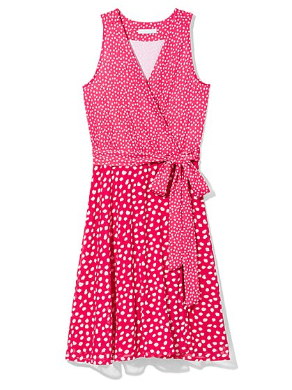 Outlet Exclusive - Belted Wrap Dress - Dot Print  - New York & Company