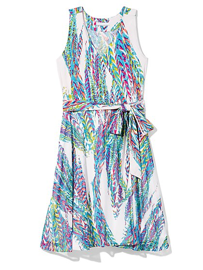 Outlet Exclusive - Belted Wrap Dress - Multicolored Abstract Print  - New York & Company
