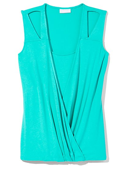 Outlet Exclusive - Faux-Wrap Sleeveless Top  - New York & Company