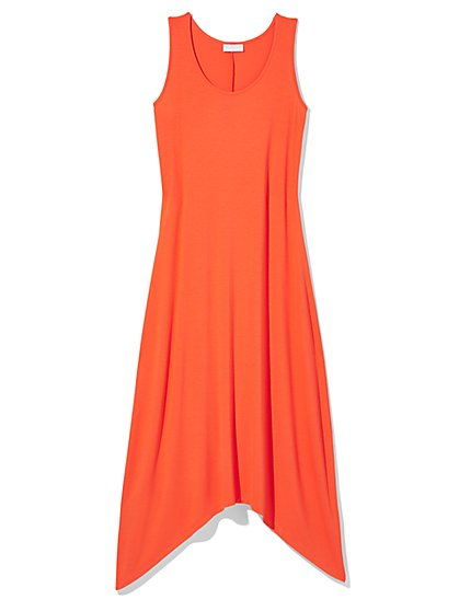 Outlet Exclusive - Sharkbite Hem Scoopneck Maxi Dress  - New York & Company