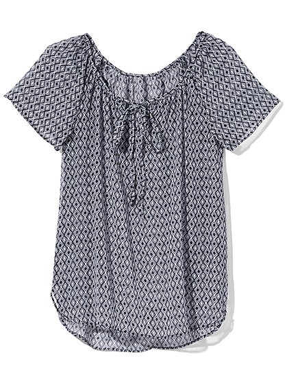 Outlet Exclusive - Tie-Front Blouse - Geo Print  - New York & Company