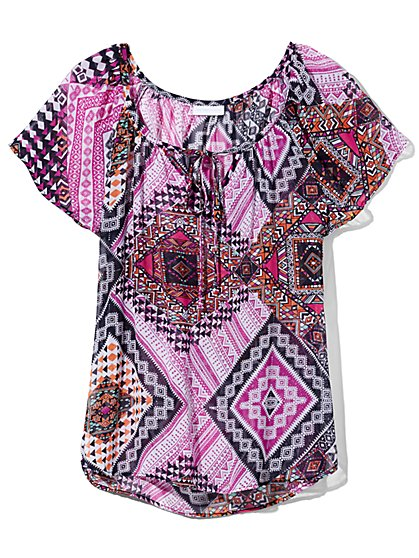 Outlet Exclusive - Tie-Front Blouse - Graphic Print  - New York & Company