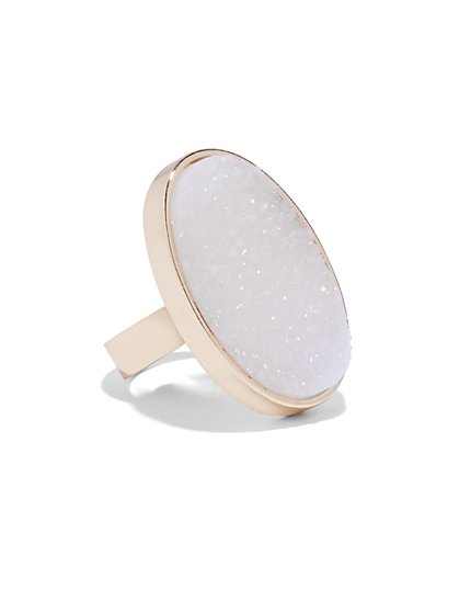 Oval Faux-Druzy Cocktail Ring  - New York & Company
