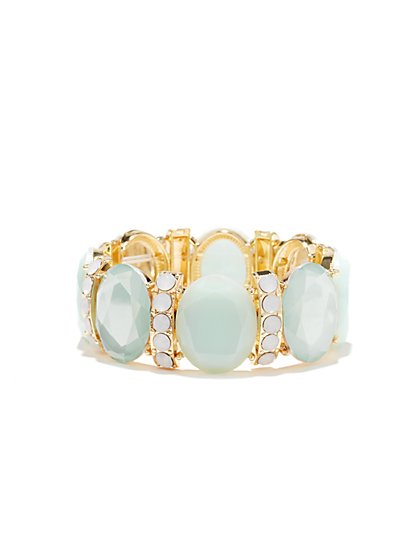 Oval Faux-Stone Stretch Bracelet  - New York & Company