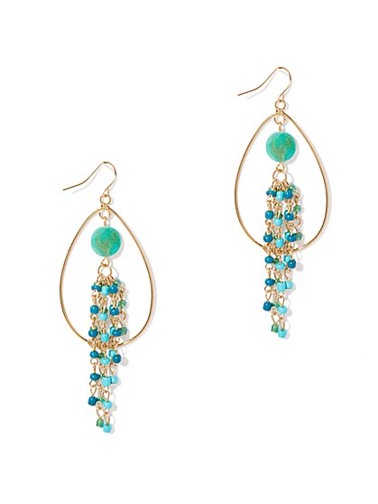 Oval-Hoop & Beaded Drop Earrings
