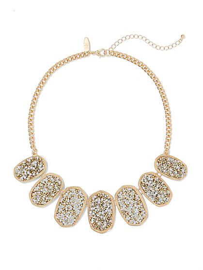 Oval-Shaped Goldtone Bib Necklace  - New York & Company