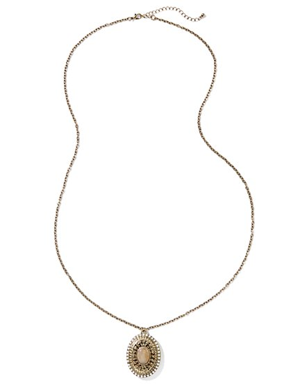 Oval Stone & Golden Locket Necklace - New York & Company