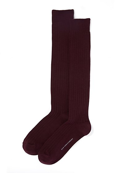 Over-The-Knee Ribbed-Knit Sock  - New York & Company