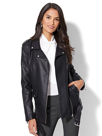 Oversized Belted Moto Jacket - New York & Company