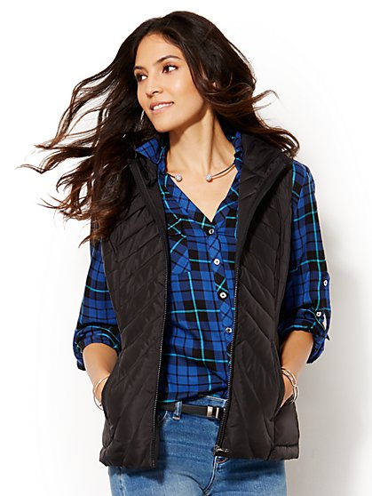Packable Hooded Puffer Vest - Solid - New York & Company