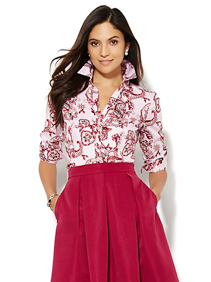 Paisley Button-Front Shirt - Petite  - New York & Company