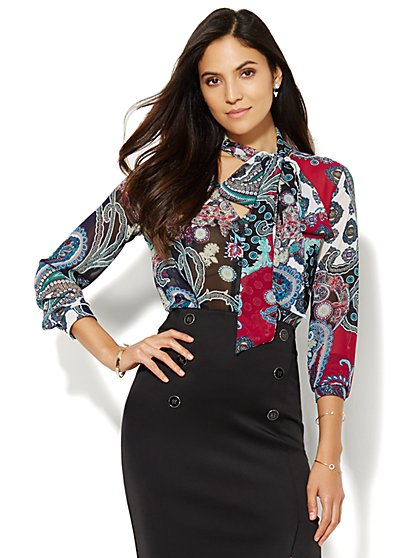Paisley Chiffon Bow Blouse - New York & Company