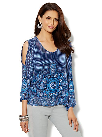 Paisley Cold Shoulder Tunic - New York & Company