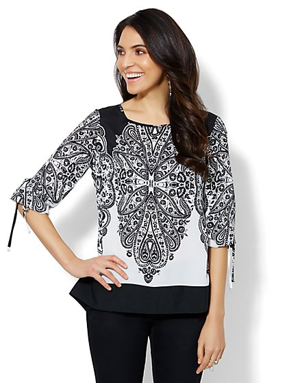 Paisley Flyway-Back Blouse - Petite  - New York & Company
