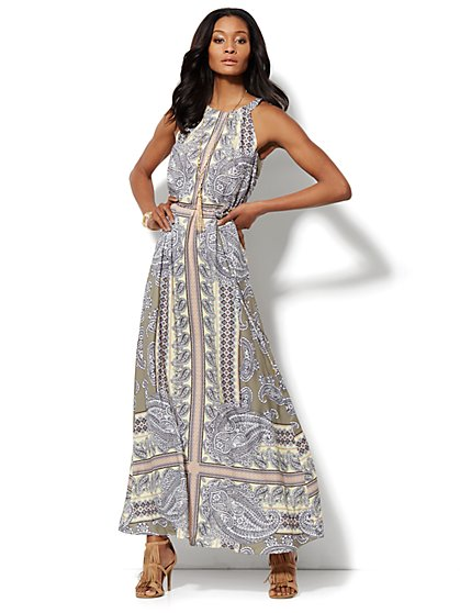 Paisley Halter Maxi Dress - Petite  - New York & Company