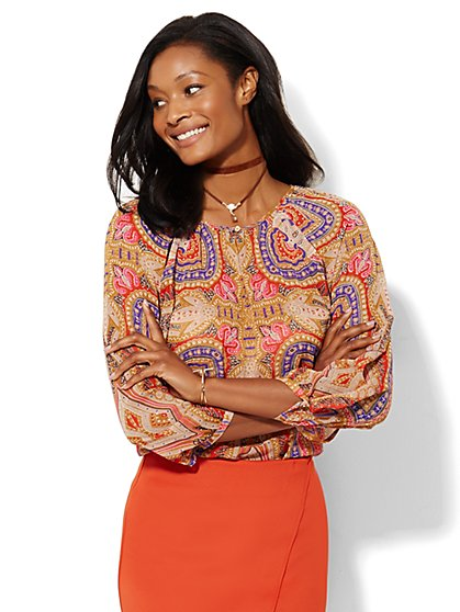 Paisley Peasant Blouse  - New York & Company