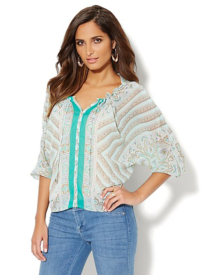 Paisley Tie-Neck Blouse  - New York & Company