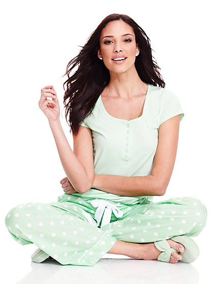 Pajama Set - Polka-Dot Print  - New York & Company