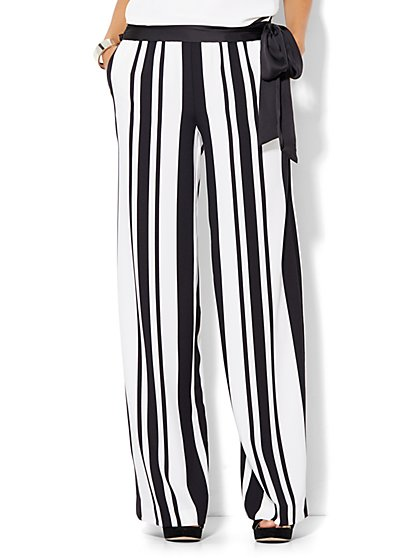 Palazzo Pant - Black & White Stripe - Petite  - New York & Company