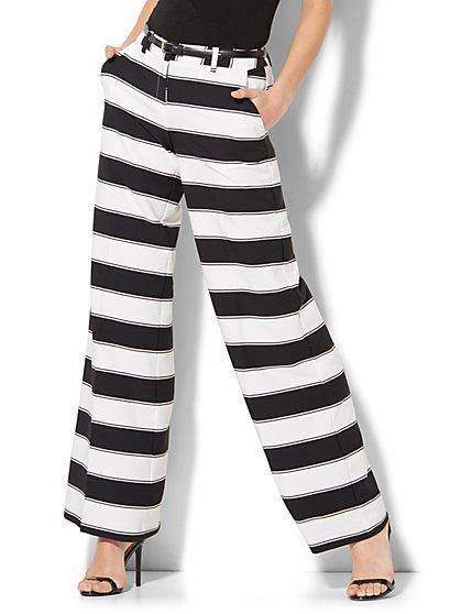 Palazzo Pant - Black & White Stripe - Petite - New York & Company