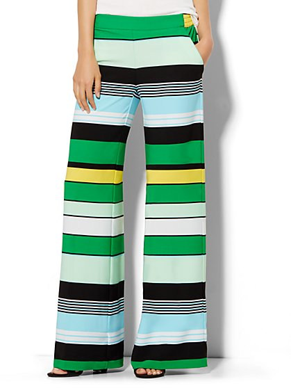 Palazzo Pant - Multicolored Horizontal Stripe  - New York & Company