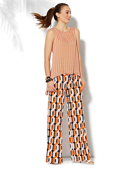 Palazzo Soft Knit Pant - Graphic Print  - New York & Company